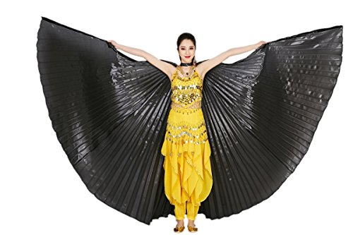 CISMARK Isis Wings Belly Dance Costume Prop Closed Back(Black) (Dance Worship Costumes)