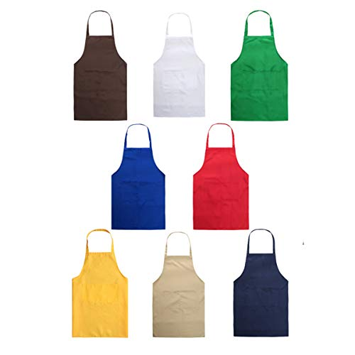 (YUYIKES Set of 8 Plain Color Adult Bib Aprons with 2 Roomy Pockets Water Resistant Adjustable Kitchen Chef Aprons for Cooking Baking Kitchen Restaurant Crafting)