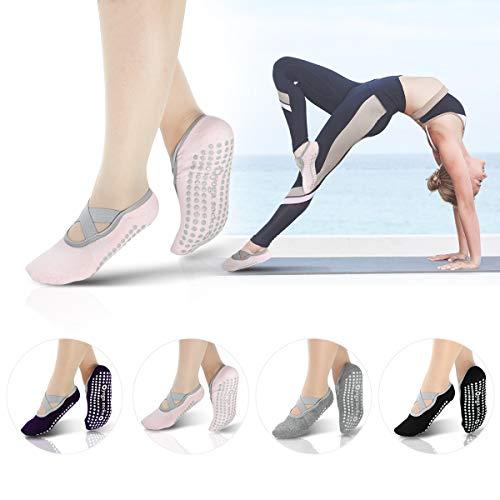 Yoga Socks for Women Non-Slip with Grips & Straps For Pilates, Pure Barre, Ballet, Dance, Fitness,Workout, Hospital Slipper Socks - 4 Packs
