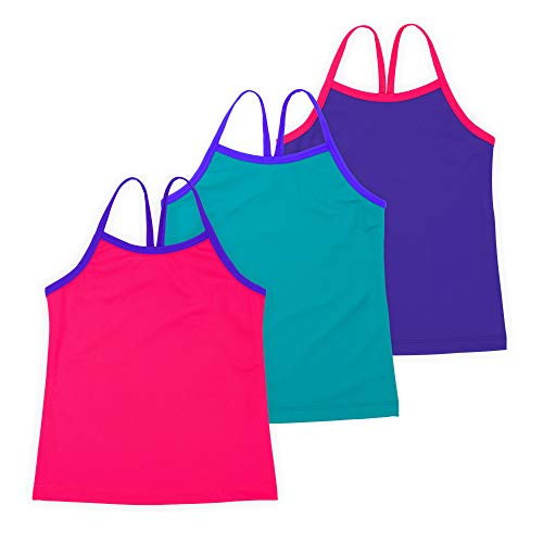 Lucky & Me Ella Girls Dance Tank Top, Gymnastics & Dancewear, 3-Pack, Rosey Posey 7/8 Child Dance Tank Top
