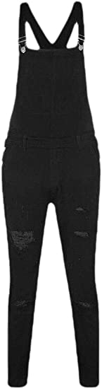 Keaac メンズスリムパッチポケットデニムビブリッピングジーンズスリムオーバーオールジャンプスーツ