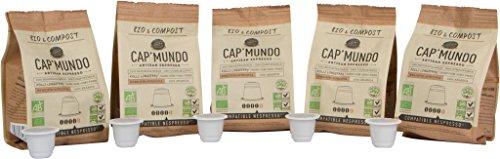 Organic and Compostable Nespresso Compatible BPA-free Coffee Capsules – Bird Friendly, 100% Arabica – Cap'Mundo Paris, French Artisanal Espresso (Ethiopian Kolli, 50 Pods for OriginalLine Machines)