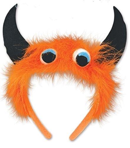 Child Size Monster Headbands - Orange with Black Horns