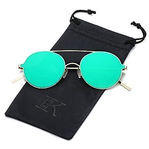 LKEYE Ultra-Light-Thin Sunglasses Unisex Round Style Small Memory Metal Frame LK1711 Gold Frame Green Lens