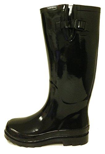 G4u Femmes Bottes De Pluie Plusieurs Styles Couleur Mi-mollet Wellies Boucle Mode Caoutchouc Genou Haute Neige Chaussures Noir