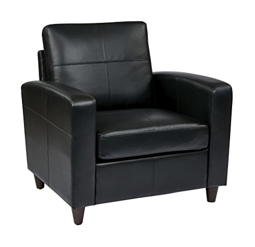 Office Star Breeze Bonded Leather Club Chair with Cherry Finish Legs, Black Eco Leather Club Chair