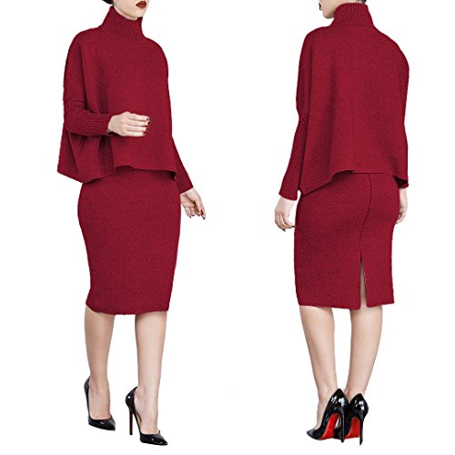 VERTTOP Women Midi Winter Dress Solid Color Two Piece Sets Turtle Neck Long Sleeve Loose Shirt Sweatsuit Pullover Blouse Red XXL