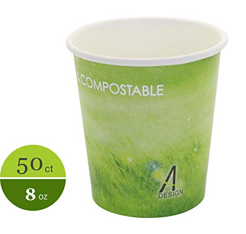 - Special Green Grass Design, Paper Hot Cup,Eco-friendly,100% Blodegradable&Compostable, 50 count. (8 OZ)