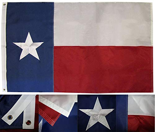 (American Wholesale Superstore 3x5 State of Texas TX (Fully Emb Star) 3'x5' 210D Nylon Embroidered Premium Quality Heavy Duty Flag (RUF))