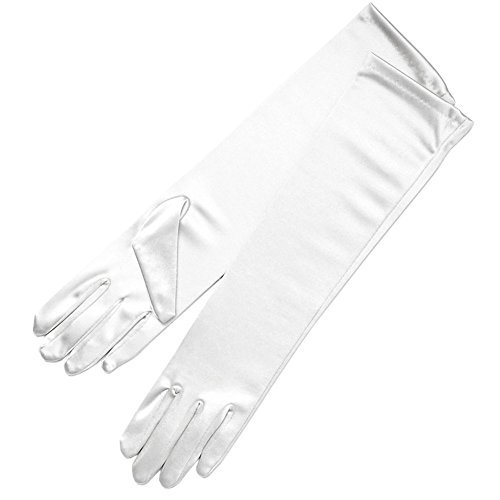 ZaZa Bridal 15.5'' Long Shiny Stretch Satin Dress Gloves Below-The-Elbow Length 8BL-White