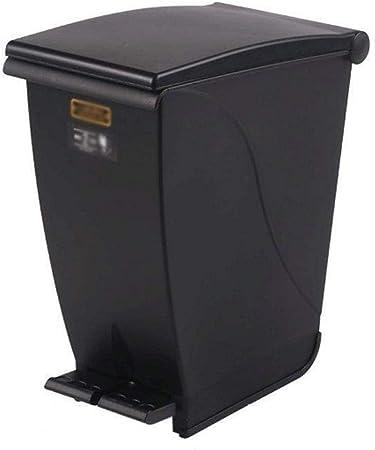 Papeleras Papelera de basura cuadrada, papelera de 20 litros, papelera de reciclaje de plástico Pedal de basura de residuos Vidrio de papel, plástico, latas, residuos de jardín y compost Papelera de r: