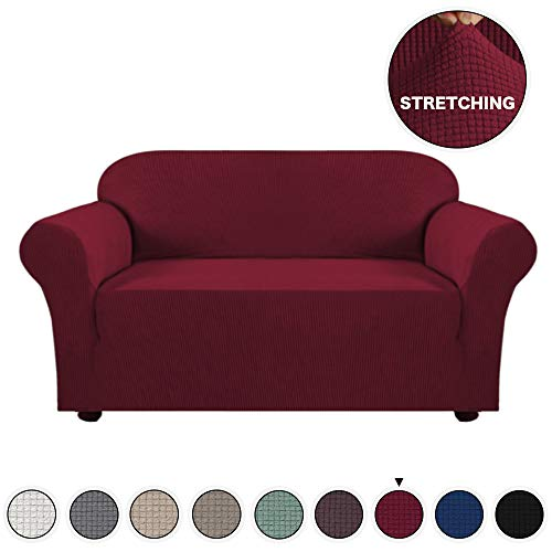 High Stretch Sofa Cover 1 Piece Couch Covers for Living Room Loveseat Slipcovers Slip Resistant Furniture Protector Lycra Jacquard Sofa Slipcover 2 Cushion (Loveseat, ()