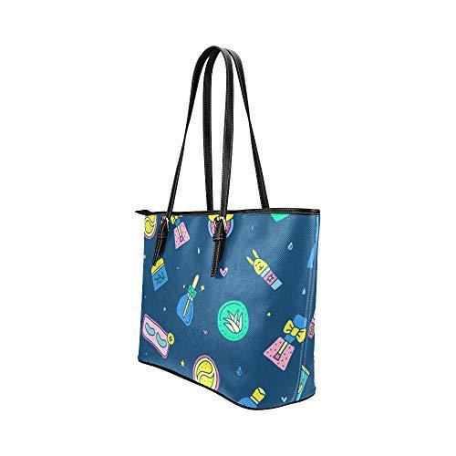 Designer Satchel väskor tecknad söt hudvårdsprodukter skönhet läder handväskor väska orsaksala handväskor dragkedja axel organiserare för dam flickor kvinnor väskor crossbody