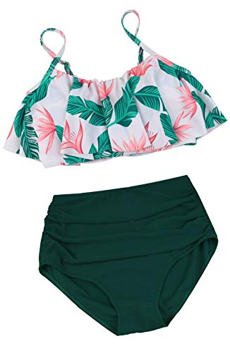 Angerella Green High Waisted Bikini Two Piece Flounce Ruffled Swimsuits Beach Retro Swimwear,2XL ()