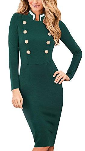 HOMEYEE El collar elegante del soporte de la vendimia de las mujeres de manga larga de negocios vestido B410 Verde