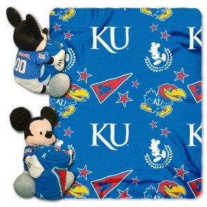 y Officially Licensed NCAA Kansas Jayhawks Co-Branded Disney's Mickey Hugger and Fleece Throw Blanket Set (Kansas Jayhawks Bedding)