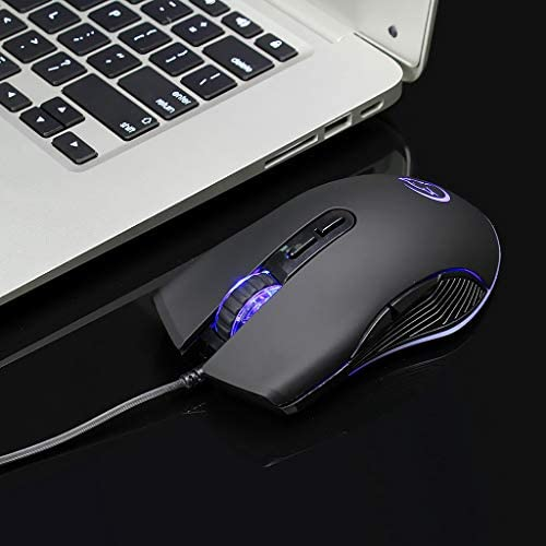 mengersty Pink Silent LED Light Optical Game Mice Ergonomic USB Wired Mouse with 3200 DPI and 6 Buttons for PC Notebook Computer Laptop