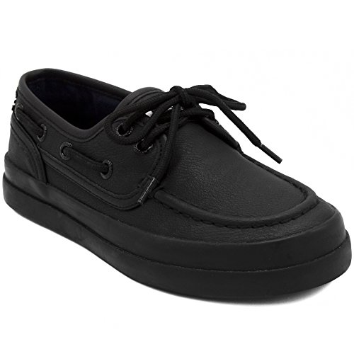 Nautica Kid's Spinnaker Boat Shoe Casual Loafer 2 Eye Lace-Allover Black-2