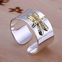 925 silver filled ring gold dragonfly womens fashion jewelry party gift size 8 (8)
