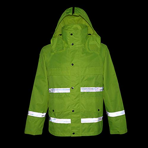 GSHWJS- trash can Waterproof Rain Jacket and Pants, Reflective Safety Raincoat Hooded Poncho Set, Green Reflective Vests (Size : XXXL) by GSHWJS- trash can (Image #4)