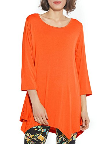 BELAROI Women 3/4 Sleeve Swing Tunic Tops Plus Size T Shirt (1X, Orange) -