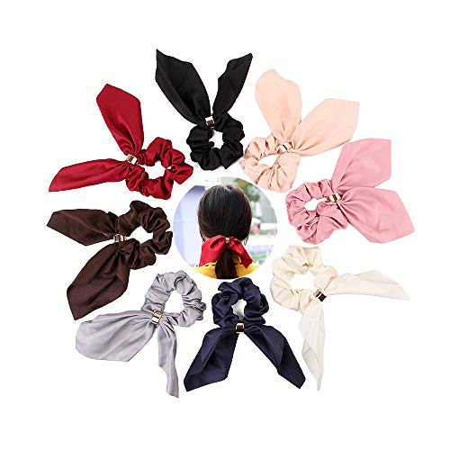 Rabbit Bowknot (Jasonsy 8 Pack Rabbit Ear Hair Ties,Solid Color Chiffon Bowknot Scrunchie Bobbles Elastic Hair Ties Bands Ponytail Holder Hair Acdessories for Girls and Women(8 colors))