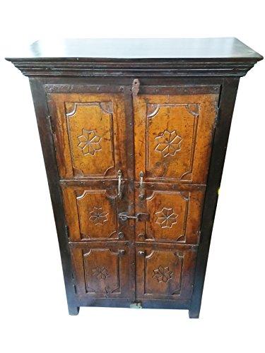 Mogul Interior Antique Indian Tribal Lotus Cabinet Teak Armoire Vintage Furniture ()