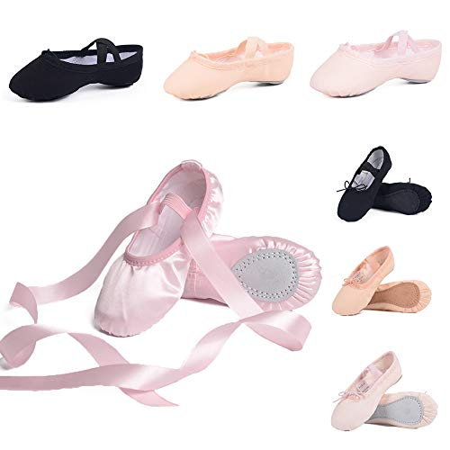Ruqiji Ballet Shoes for Girls/Toddlers/Kids/Women, Canvas Ballet Shoes/Ballet Slippers/Dance Shoes, Satin Ballet Shoes with Ribbon/Full Sole ()