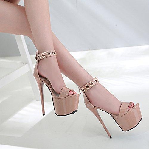 Sexy Hueco GZSL Tacón Moda Fiesta Beige Sandalias De Baile A45 Plataforma Club Stiletto Nocturno Alta KJJDE 380 Mujer Zapatos EWqPvBxIHn