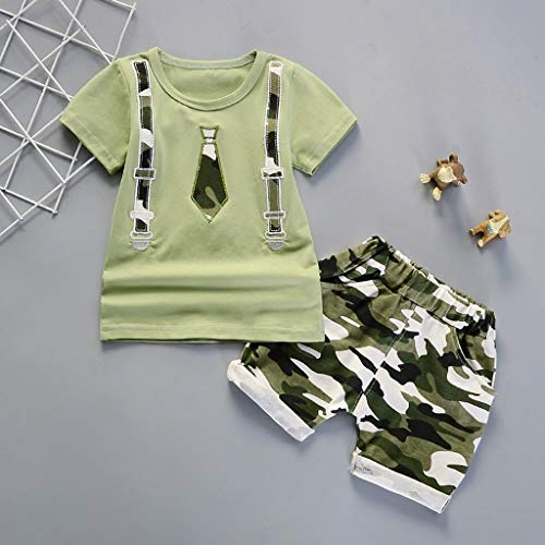 Lavany Toddler Boys Clothes 2pc Short Sleeve Print Tops+Como Shorts Casual Outfits Green by Lavany (Image #1)
