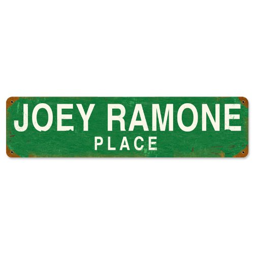 Metal Ramones (Old Time Signs Joey Ramone Place Metal Sign Wall Decor 20 x 5)