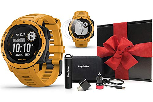 - Garmin Instinct (Sunburst) Outdoor GPS Watch Gift Box Bundle | with PlayBetter Portable Charger, USB Car & Wall Adapters, Hard Case | Rugged GPS Watch | Heart Rate | Black Gift Box, Red Bow