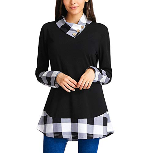 Sweatshirts for Women Plus Size, Seaintheson New Womens Plaid Raglan Long Sleeve Cowl Neck Button Pullover Casual Tunic Tops -