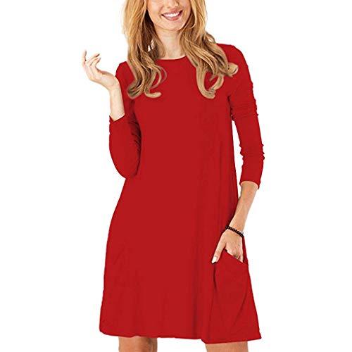 Et Femmes Chemise Coupe Robe Fluide Décontractée Ample De Lenfesh Pour Tunique Rouge nqxTvwnRA