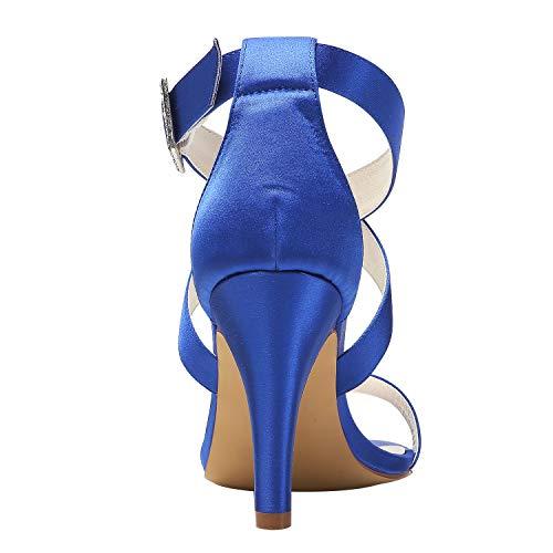 Elegantepark Spillo Tacchi Fibbia Alti Hp1818 Donna Raso Blu Festa Scarpe Nozze Di Sandali Con Ballo Cinturino In Incrociato Da A Open Toe XwYqXBWxFr