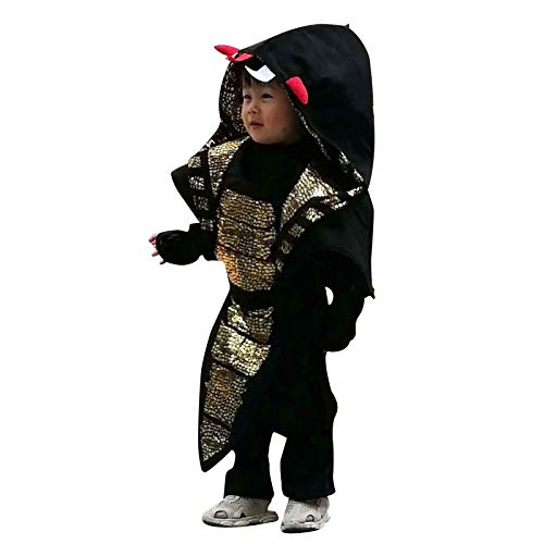 (Wraith of East Cobra Ninja Costume Kids Halloween Animal Cosplay Samurai Assassin Boys Jumpsuit with Hood Mask Fancy Dress Outfit)