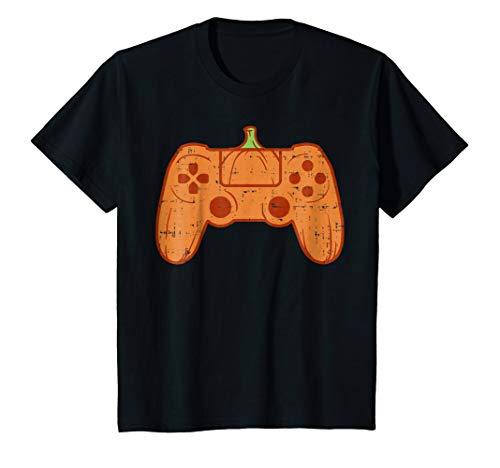 Kids Funny Halloween Shirt Game Controller Pumpkin Gamer Costume -