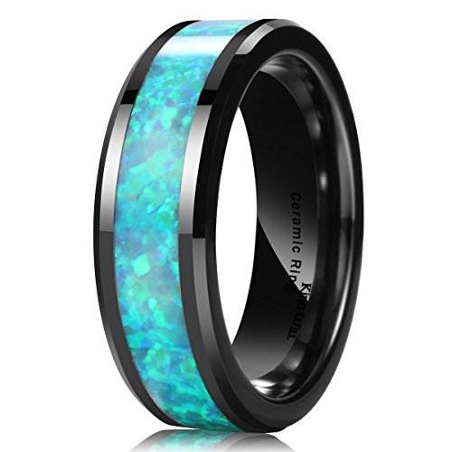 7mm Black Tungsten Band Rings - King Will NATURE Men's 7MM Ceramic Ring Genuine Opal Inlay Polished Wedding Engagement Band(10.5)