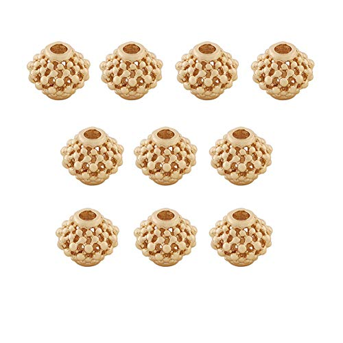 Mystart 10 Pieces Mini 24K Gold-Plated Copper Hollowed Out Beads Lantern Shape Spacer Beads DIY Accessories