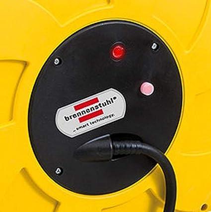 16+2m Kabel, f/ür Wand- und Deckenmontage, IP44 gelb Brennenstuhl Kabeltrommel Automatik IP44 Automatischer Kabelaufroller f/ür aussen