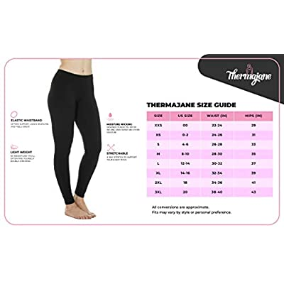 Thermajane Women's Ultra Soft Thermal Underwear Pants Fleece Lined Bottoms Long John Leggings at Women's Clothing store
