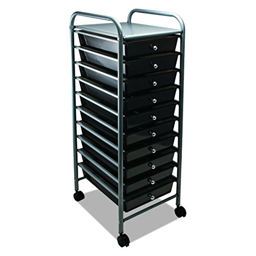 ADVANTUS 10-Drawer Rolling File Organizer Cart, 37.6 x 13 x 15.25 Inches, Smoke (34007) (Buy Drawer Online Knobs)