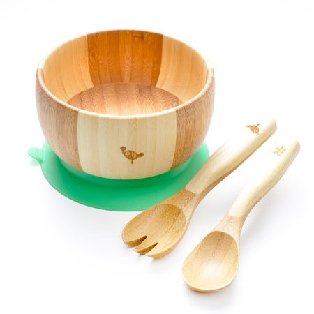 LaBoos Baby Kids Suction Bowl Spoon Fork, Infant Feeding, Baby Registry, Bamboo Bowl, Unisex. Baby Bowl Set + Baby Spoons Set. FDA Approved BPA Free, Stay Put Suction bowl,Green Bamboo Wide Bowl Spoon