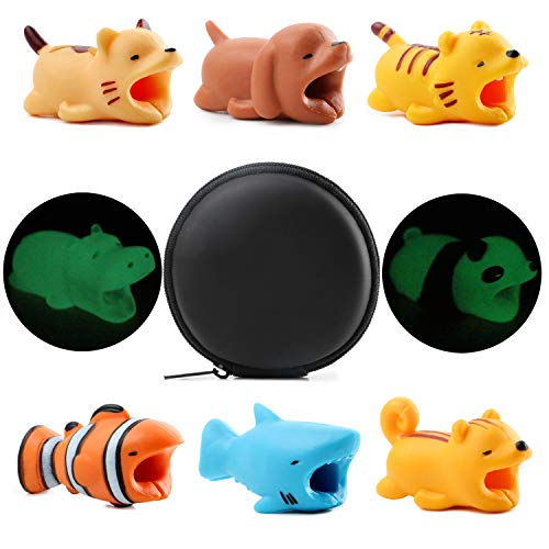 8pcs Cable Bites Animals Protector 2 Animal Cable Protectors Glow in The Dark and 6 Normal Cable Bite Savers for iPhone iPad MAC Charging Cables Cord Cute Decorate & Protect Cable for Cell Phone