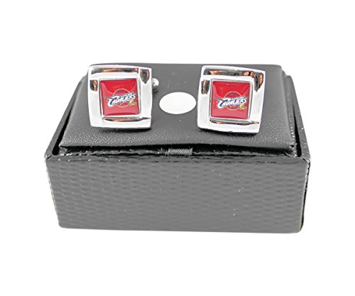 NBA Cleveland Cavs Cavaliers Square Cufflinks With Square Shape Engraved Logo Design Gift Box Set by aminco