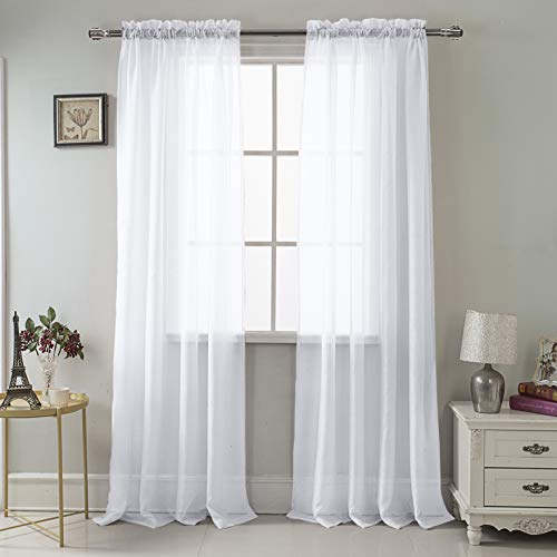 RT Designers Collection Celine Sheer 55 x 90 in. Rod Pocket Curtain Panel, White ()
