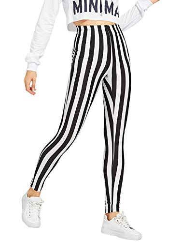 WDIRARA Women's Striped Elastic Waist Capris Pants Stretchy Sporty Leggings Black and White ()