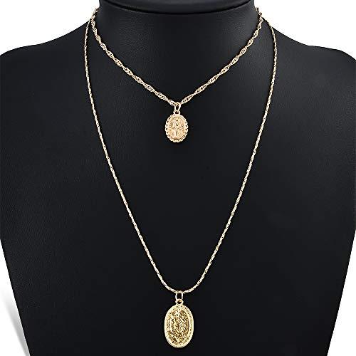 ion Religious Style Multi Chain Necklace Gold Vintage Virgin Mary Pendant Necklace for Women Short Necklace 2pcs/Set ()