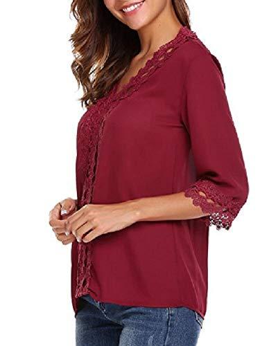 Zhrui Camicia Rosso Camicetta Lunga Casual Manica Donna Chiffon Elegante 4r847X