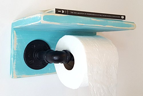 Black Pipe Decor by Out Back Craft Shack: Toilet Paper Holder with Shelf - Rustic Teal w/ light base Light Rust Pine Metal